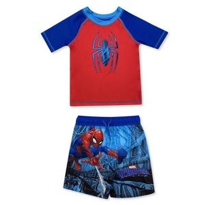 Toddler Boy Spiderman Rash Guard & Swim Trunks Set